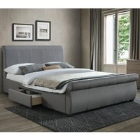 Lancaster Grey Fabric 2 Drawer Storage Bed Frame - 4ft6 Double