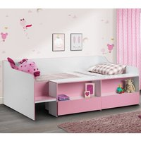Stella Pink and White Wooden Kids Low Sleeper Cabin Storage Bed Frame - 3ft Single