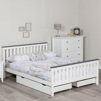 Shanghai White and Grey Wooden Bed Frame Only - 3ft Single