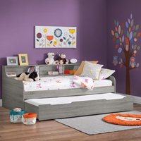Grace Grey Oak Wooden Day Bed with Guest Bed Trundle Frame - 3ft Single