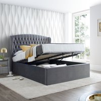 Warwick Grey Velvet Fabric Ottoman Bed Frame - 4ft Small Double