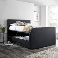 Annecy Black Leather Ottoman Media TV Bed Frame - 4ft6 Double