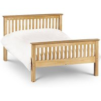 Barcelona High Foot End Antique Solid Pine Wooden Bed Frame - 4ft6 Double