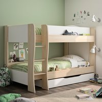 Roomy Oak and White Wooden Bunk Bed With Storage Drawer Frame - EU Single